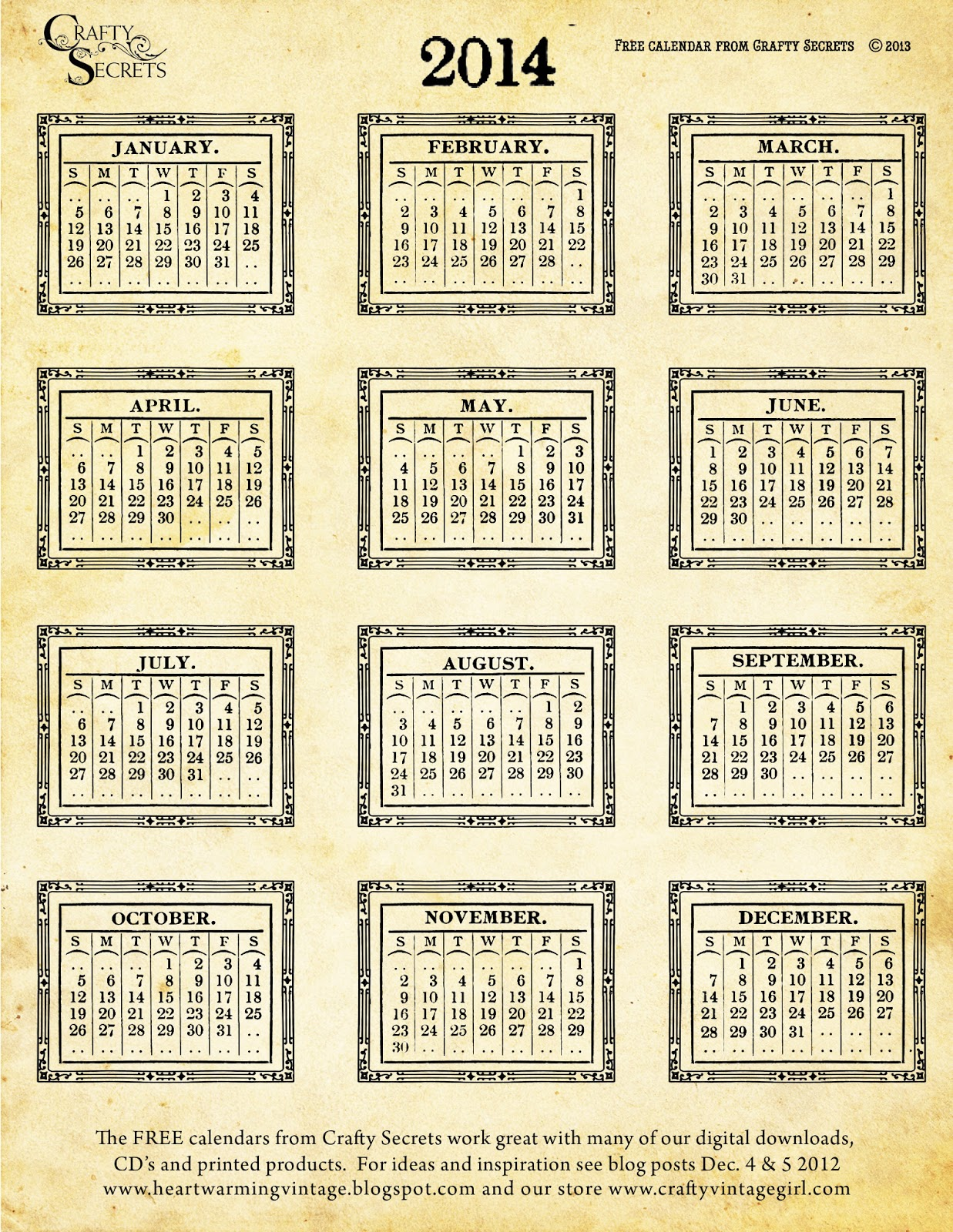 Large Box Printable Monthly Calendars | Calendar Template 2016