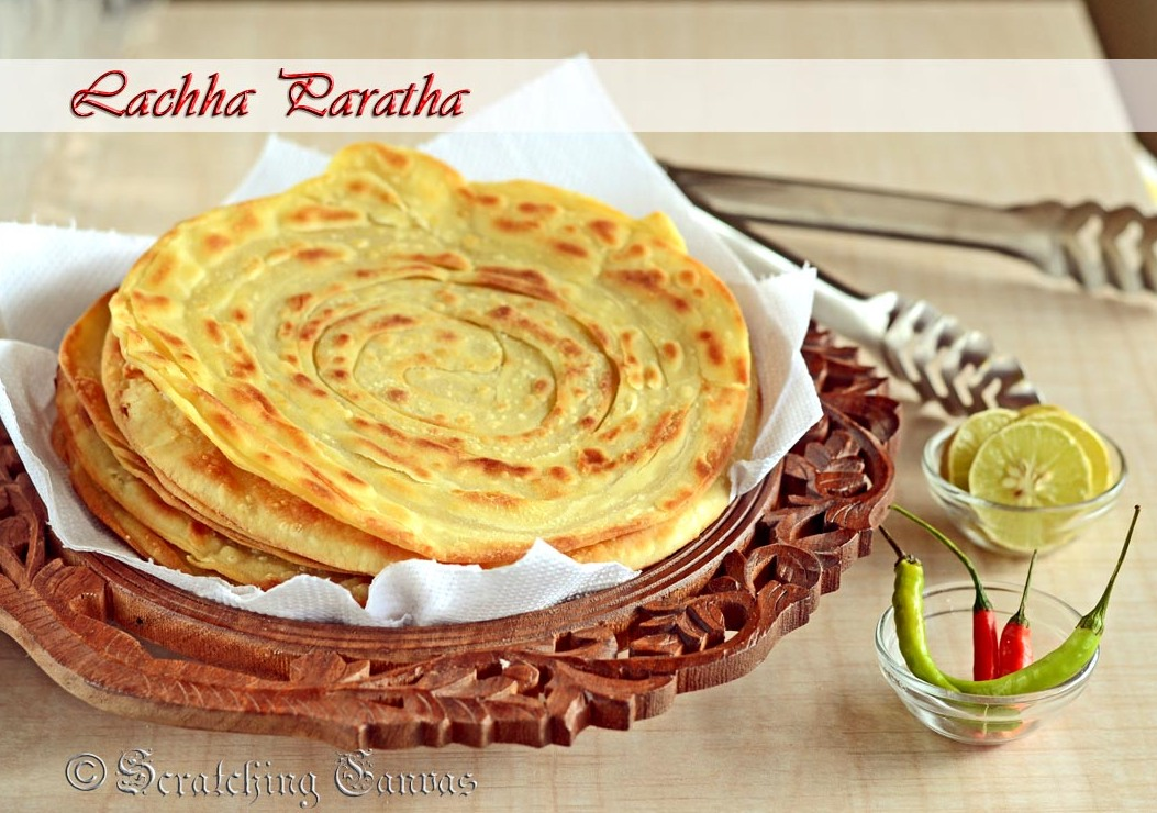 Lachha Paratha or Crispy Flaky Layered Indian Flat Bread