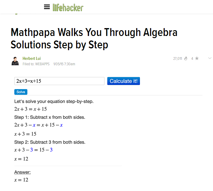Maths: Mobile App solves Algebra equations step-by-step, accurately