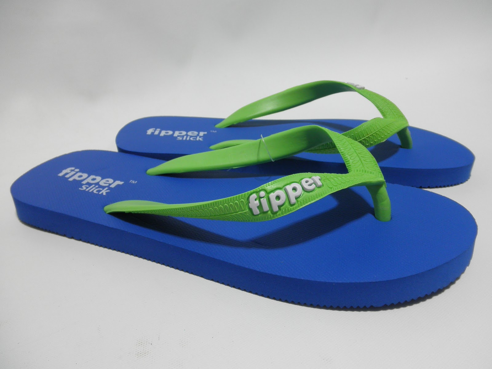 Fipper Slick Blue-Apple Green Slipper
