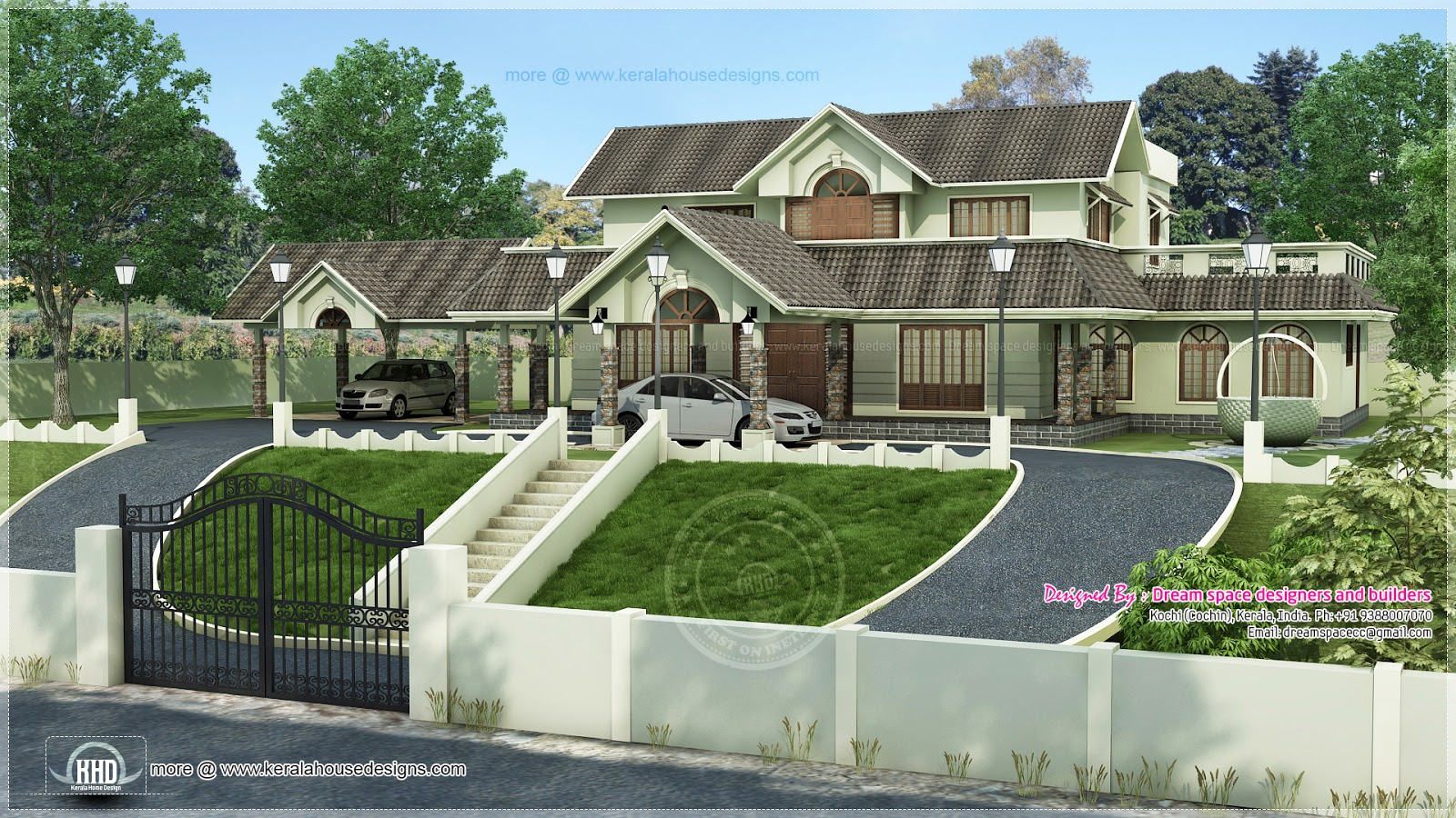ideal home design. Hillside home design Ideal in a hillside plot above the road level  Kerala
