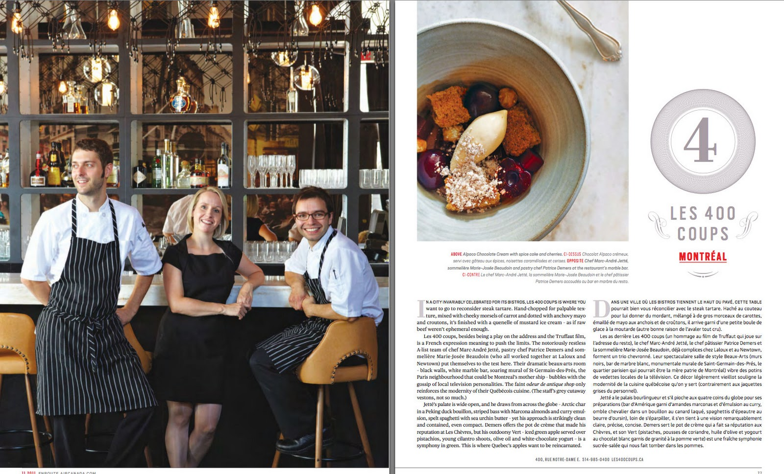 Montreal for insiders les 400 coups named one of canada 39 s best new restaurants by en route magazine - Les 400 coups restaurant ...