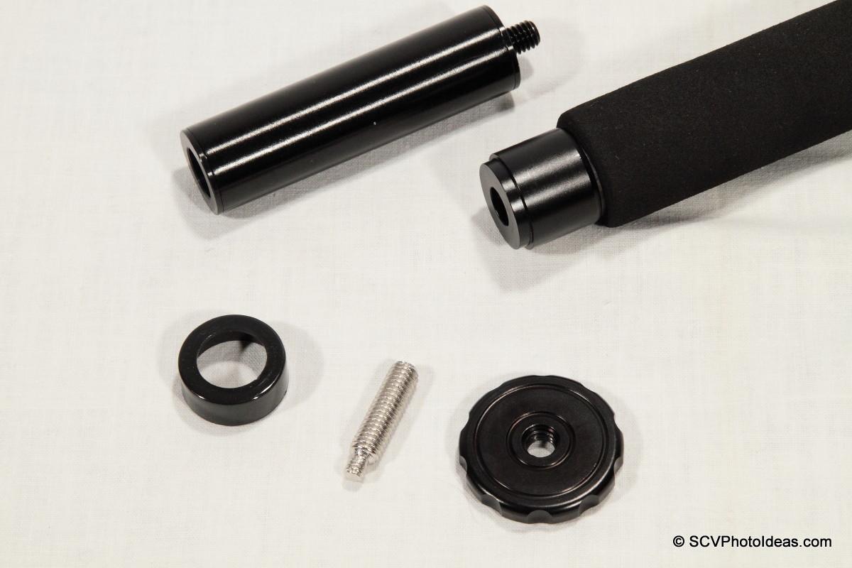 Triopo GT-3228X8C monopod + short column components closeup