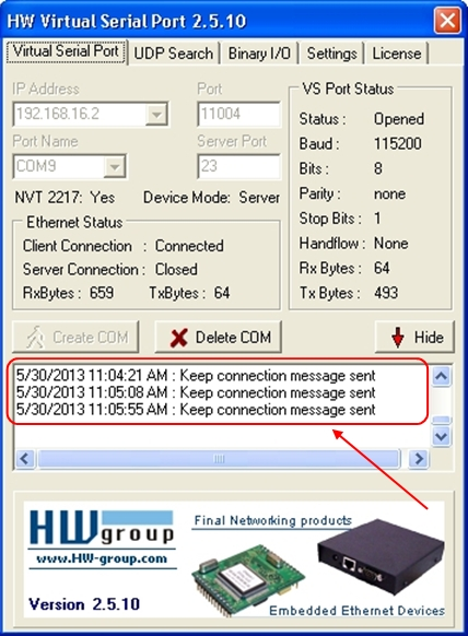 The HW Virtual Serial Port displays the log of messages while communication between the Mobile Phone and the PC is in progress.