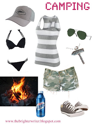 camping outfit 2: camo cut offs, tank, swimming suit, Chucks, hat www.thebrighterwriter.blogspot.com