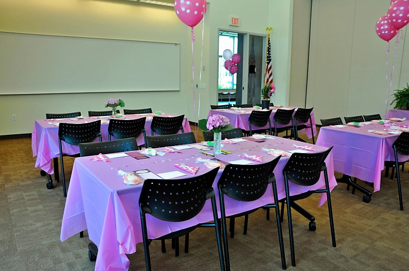 Pink Table Cloths, Fresh Flowers And Polka Dotted Balloons On Each Table.