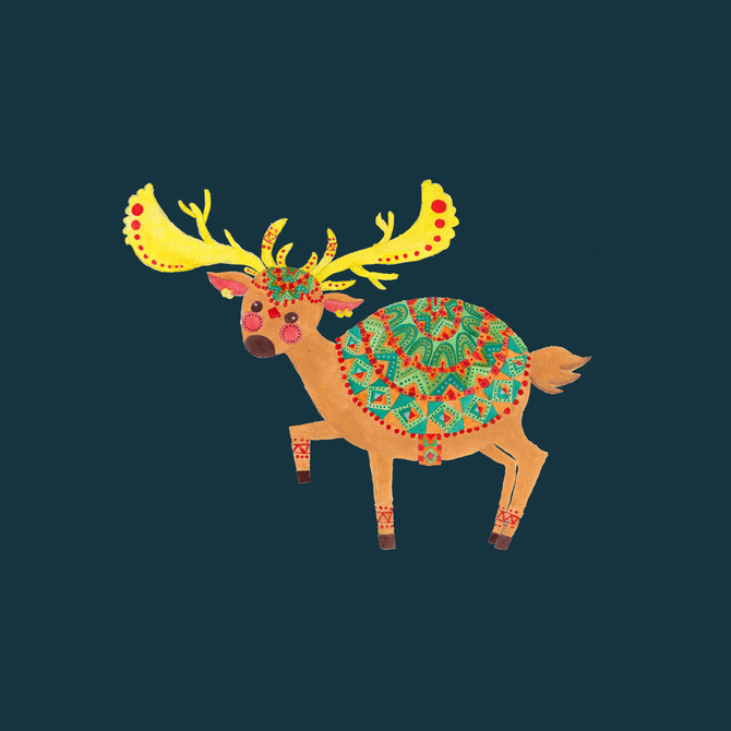 The Ethnic Deer Illustration Printed on Merchandise Illustration by Haidi Shabrina