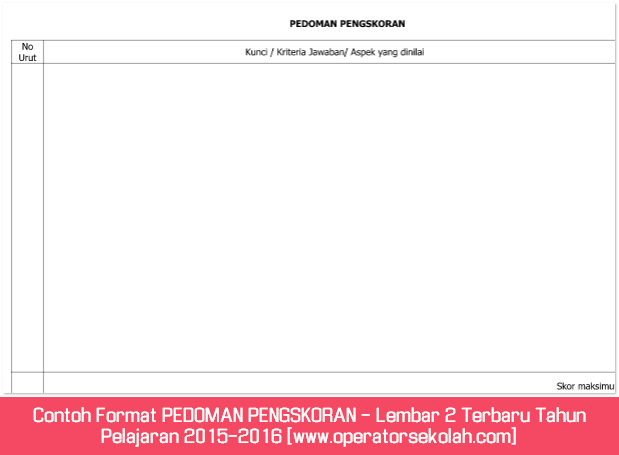 Contoh Format PEDOMAN PENGSKORAN - Lembar 2 Terbaru Tahun Pelajaran 2015-2016 [www.operatorsekolah.com]