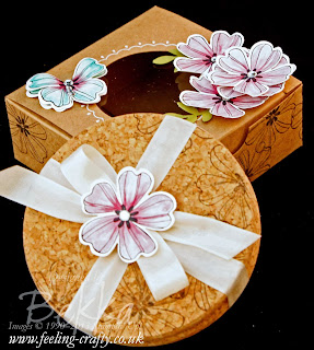 Decorated Gift Box of Coasters using Stampin' Up!'s Flower Shop Stamps - check this blog for lots of cute ideas