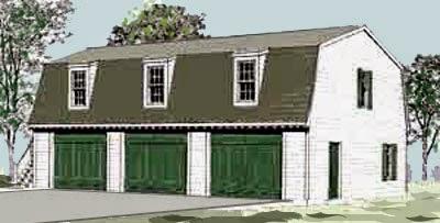 Marvelous Gambrel Roof One Car Garage Plan Gambrel Roof Three Car Garage Plan