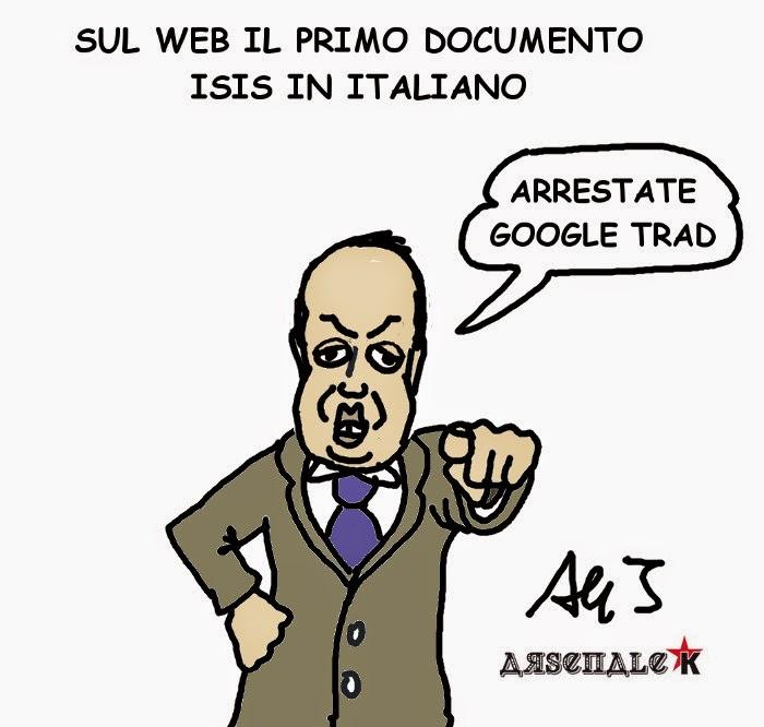 Alfano, ISIS, vignetta , satira