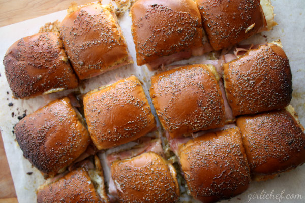 Ham & Swiss Sliders w/ Mustard-Poppyseed Dressing