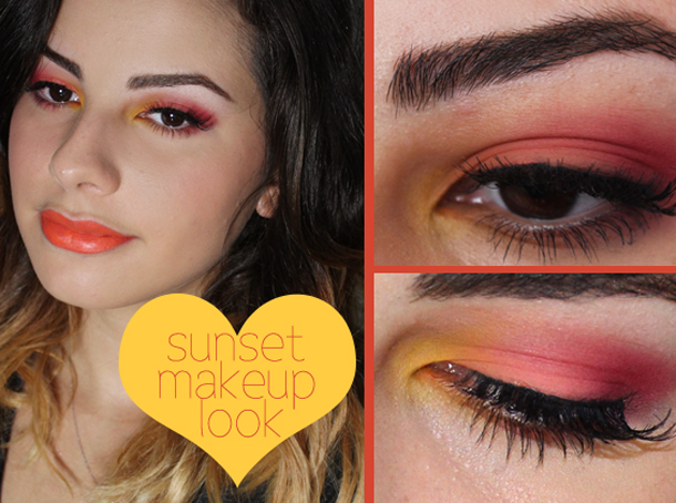 orange sunset yellow pink makeup look tutorial eyeshadow