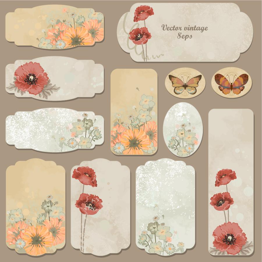 レトロな植物柄のしおり retro pattern label イラスト素材