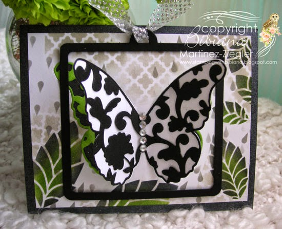 front partial die cutting black butterfly