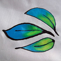 Leaves painted on silk fabric