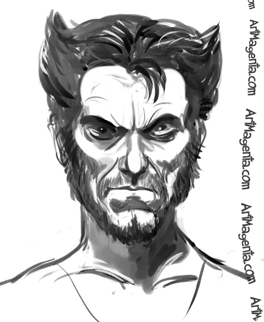 Hugh Jackman  as Wolverine caricature cartoon. Portrait drawing by caricaturist Artmagenta.
