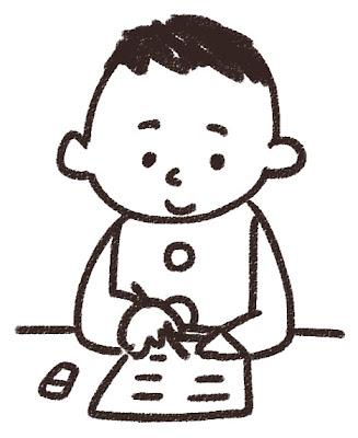 勉強をする男子中学生・高校生のイラスト「授業中」 白黒線画