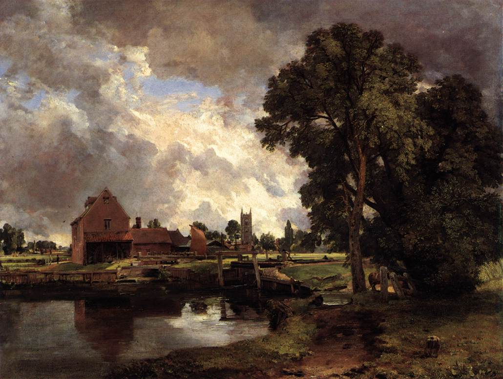 'Dedham Lock and Mill,' oil on canvas, 1818 by John Constable. Image: Web Gallery of Art (wga.hu).