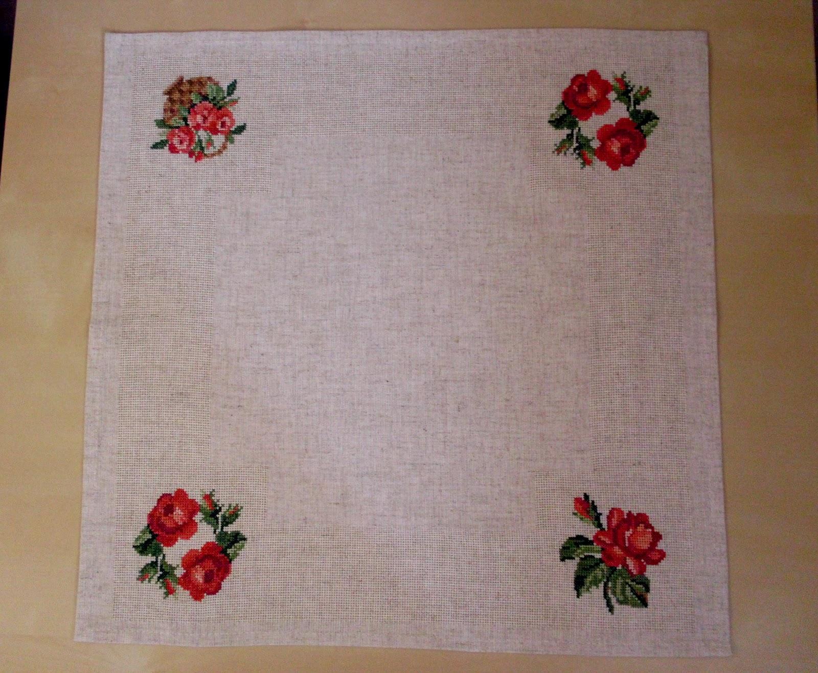 вышивка крестом схема роза салфетка