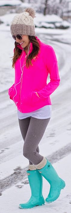 Perfect hot pink jacket ladies favorite dress with gray silm pant,cyan long boot trendy fashion