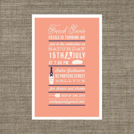 Adult birthday invitations 35 pretty examples jayce o yesta adult birthday party invitation for french soiree dinner coral navy printable invite for 21st 30th 40th via bonjourberry stopboris Image collections