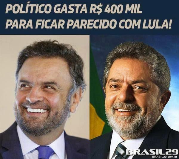 Aécim imita Lula, deixa barba crescer e quer tirar um dedo para ficar idêntico ao seu novo ídolo