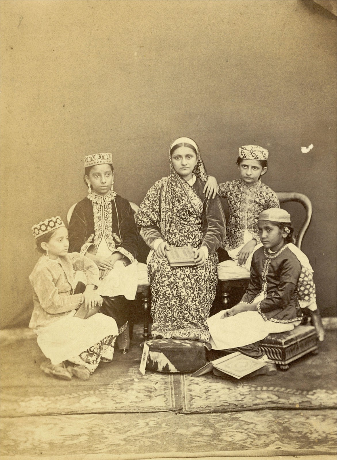 Vintage Photograph of a Group of Students in the Alexandra Native Girls' Institution at Bombay (Mumbai) 1873