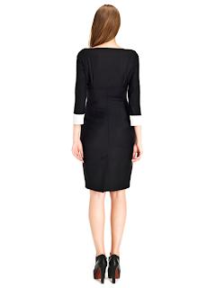 kısa siyah kolları beyaz kumaş ile süslenmiş abiye modeli, arkadan görünüm