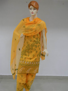Lucknowi Chikan  Yellow Green Cotton Dress Material