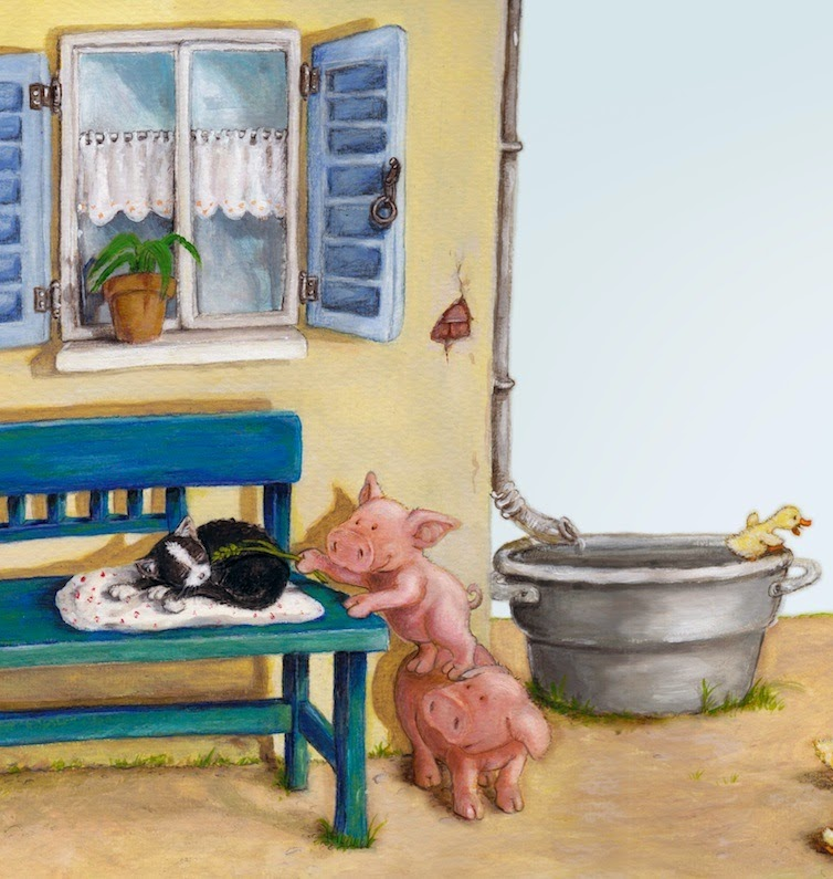 Kinderbuchillustration, Bauernhof, Ferien, Schweine, children's book illustration, farm
