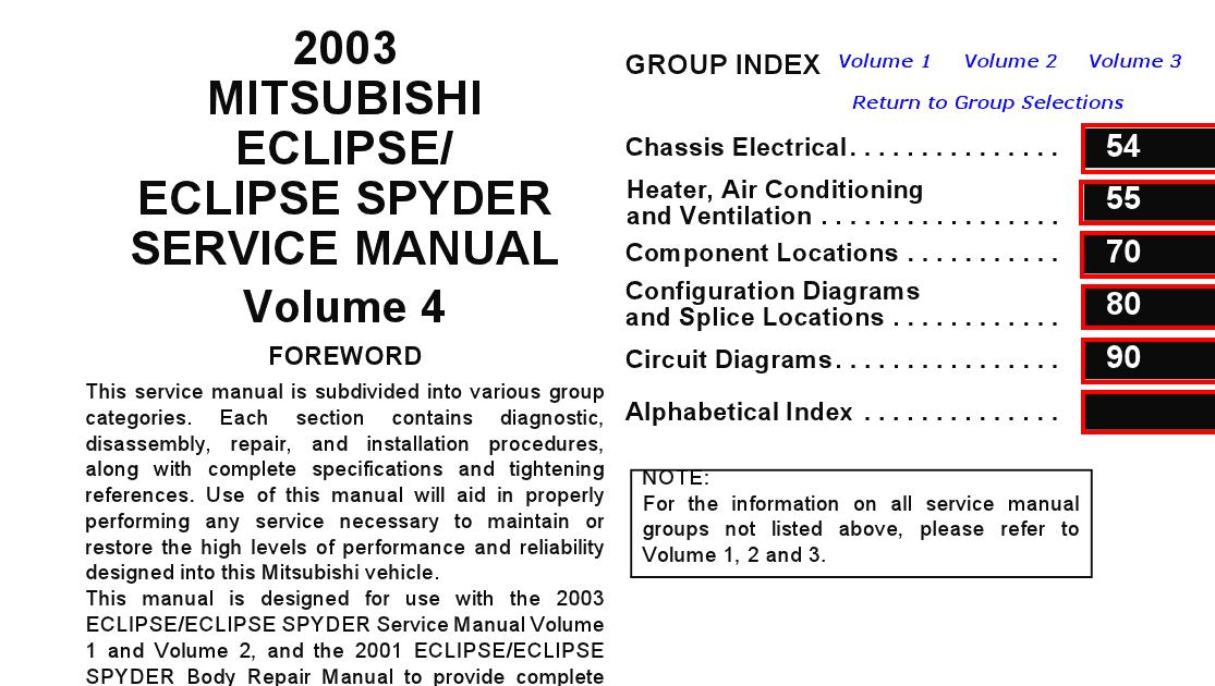 mitsubishi eclipse spyder service manual