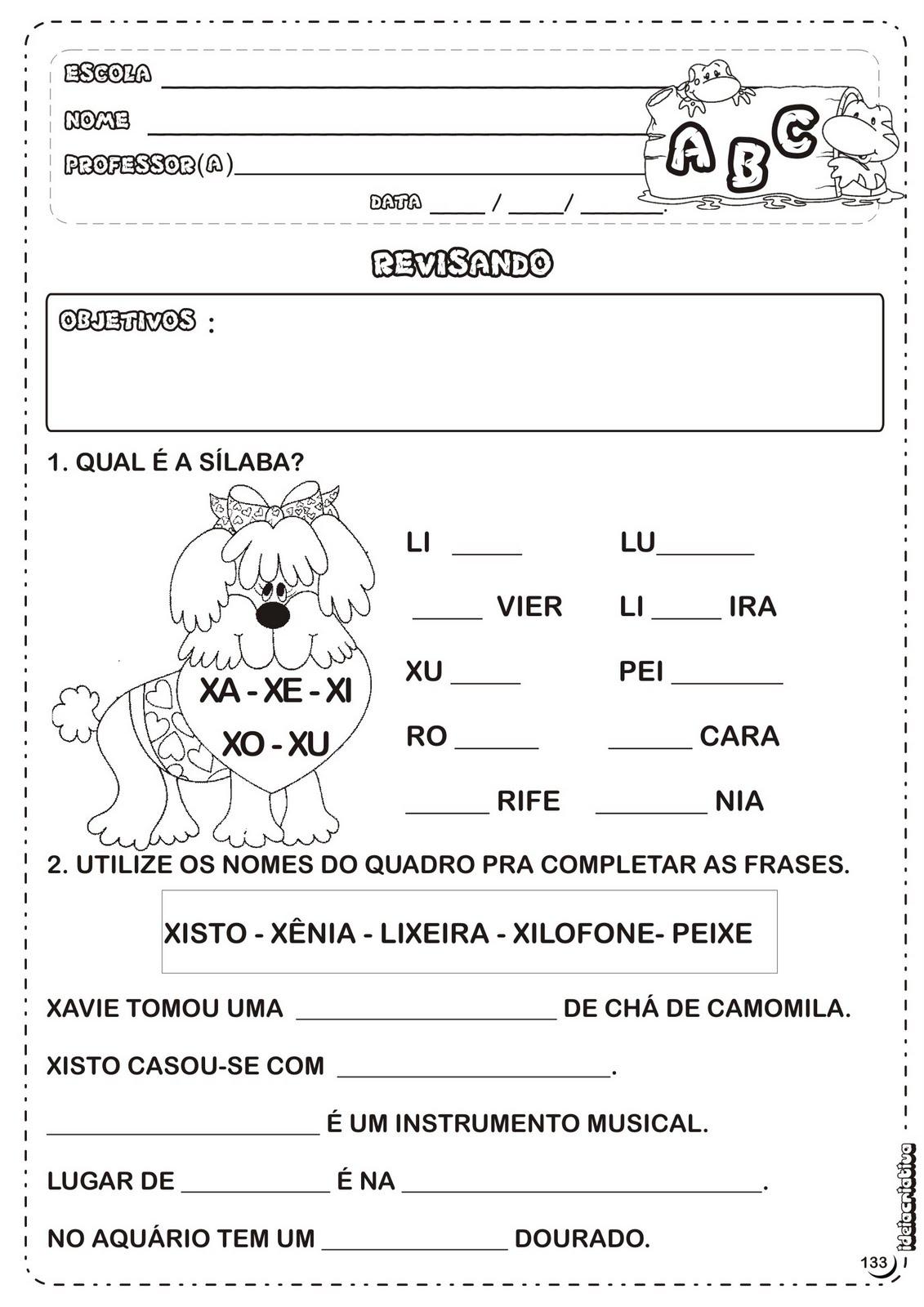 Barbosa Marcadores  Atividades Letra X   Atividades Letras Do Alfabeto