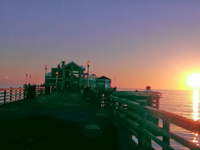 sunset on the Pacific ocean on pier