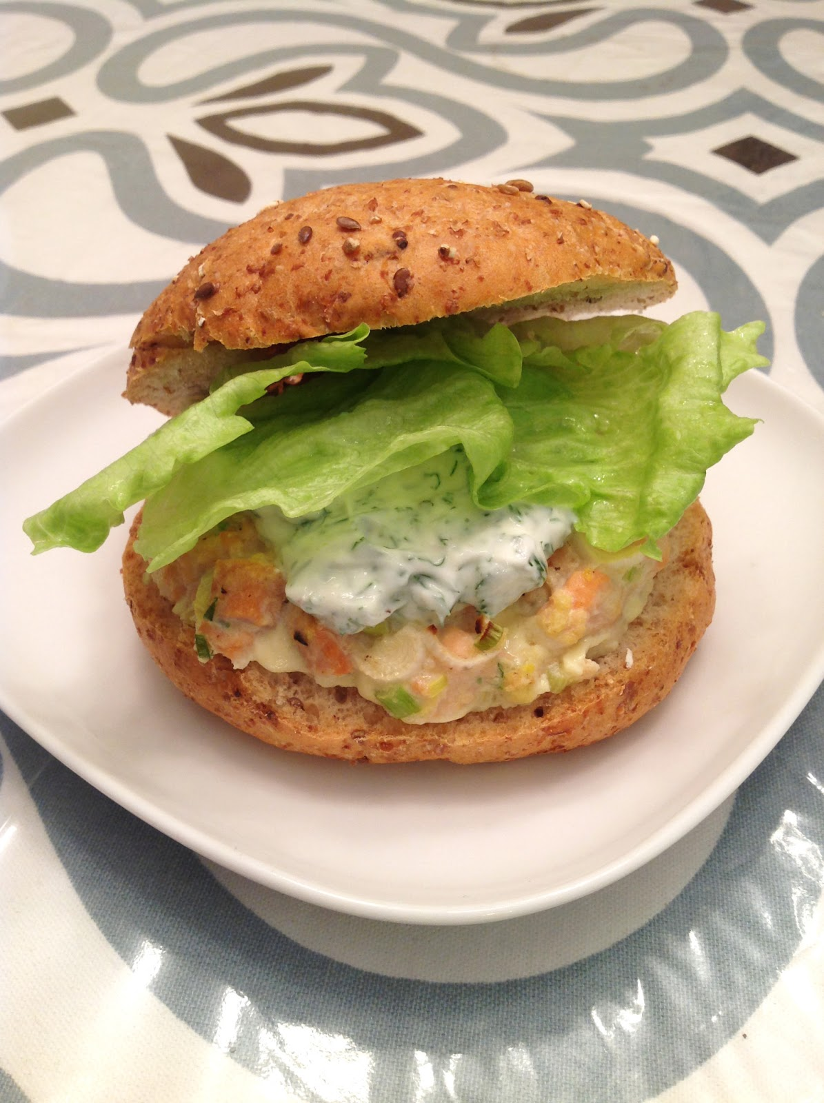 my back pages: salmon burgers with yogurt dill sauce