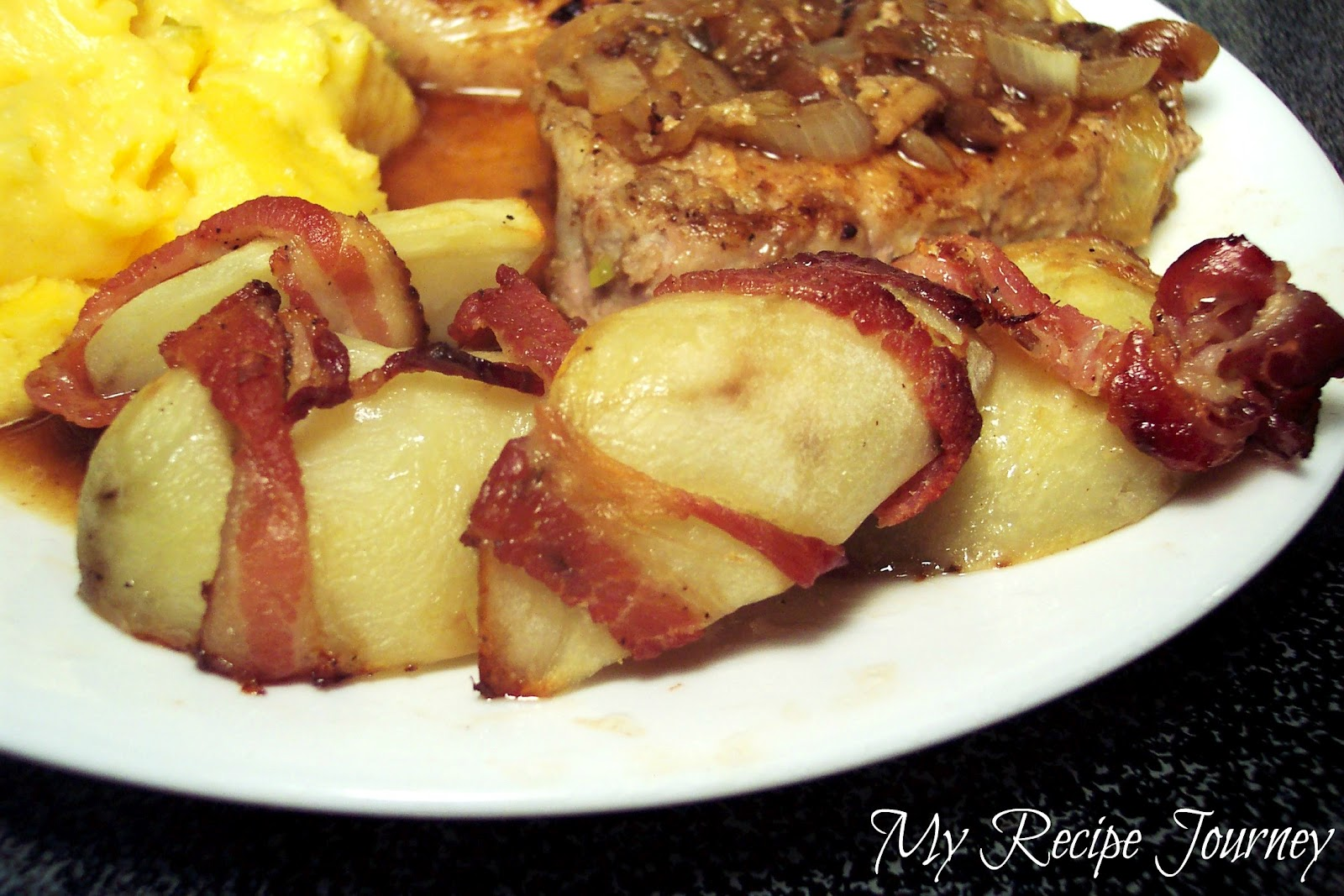 ... Chops with Onions and Cheddar Grits...and some Bacon Wrapped Potatoes