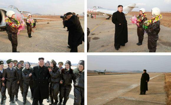 Kim Jong-un foto bersama pilot wanita dan MiG-15