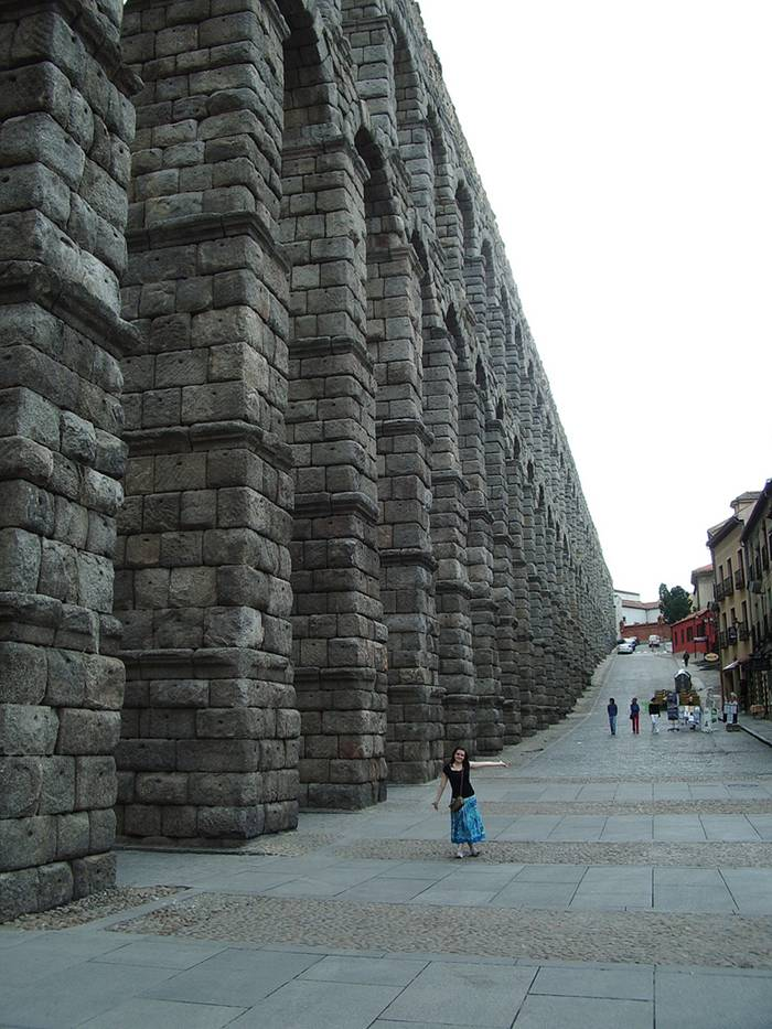 The Aqueduct of Segovia is a Roman aqueduct and one of the most significant and best-preserved ancient monuments left on the Iberian Peninsula. It is located in Spain and is the foremost symbol of Segovia, as evidenced by its presence on the city's coat of arms.