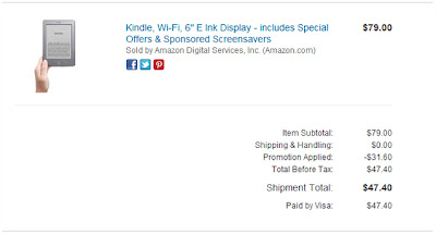 Kindle Fire Savings Receipt