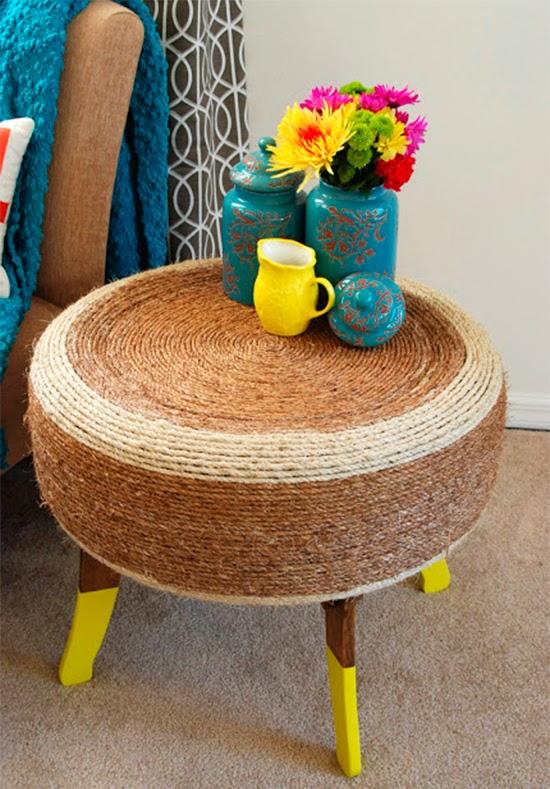 mesa feita com pneu