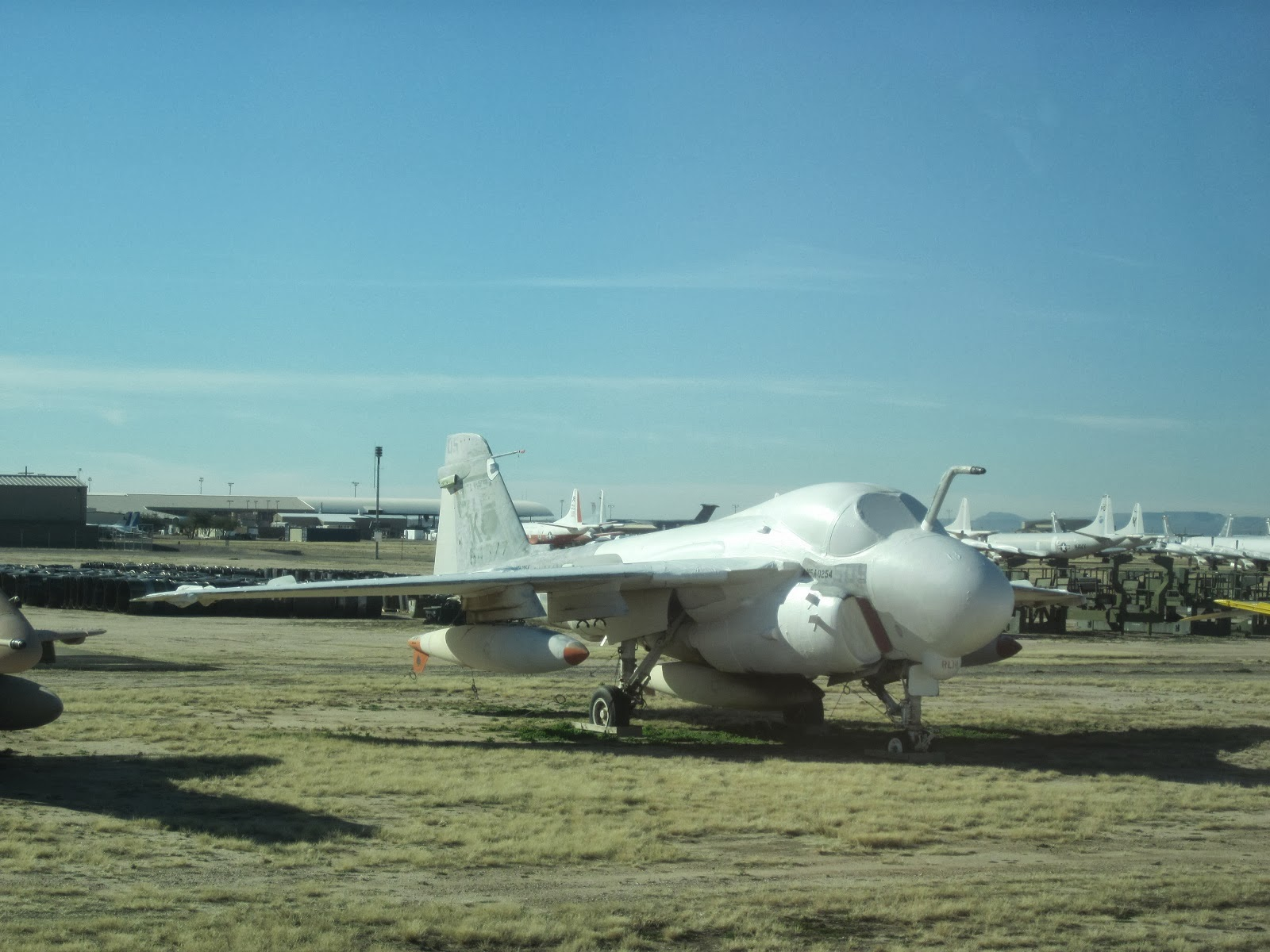 A Grumman A-6 Intruder all-weather attack aircraft. Entering service in 1963, a total of 693 Intruders were built. The A-6 was retired by the U.S. Marine ...