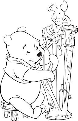 Desenho do Pooh e Leitão para colorir
