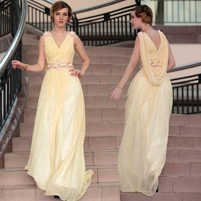 Daffodil V-Neck Floor Length Dress