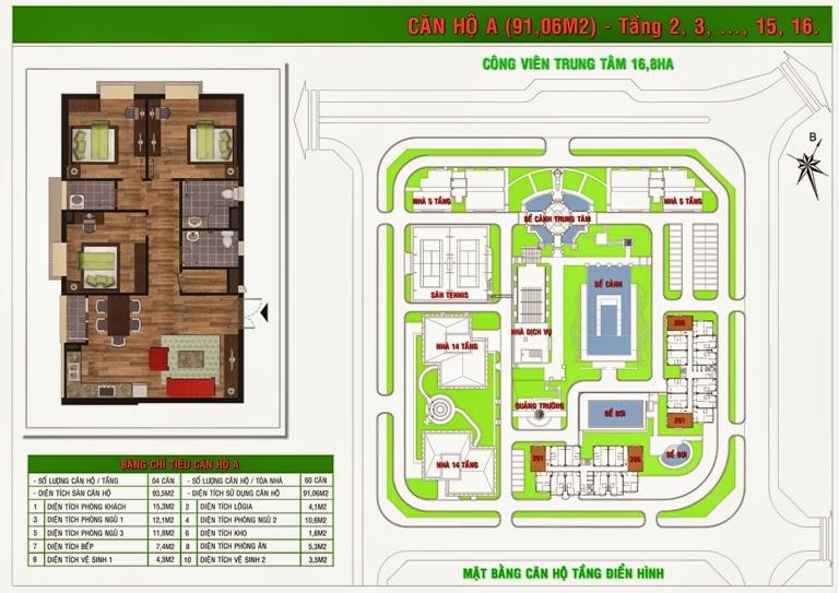 Căn hộ A diện tích 91,06 m2
