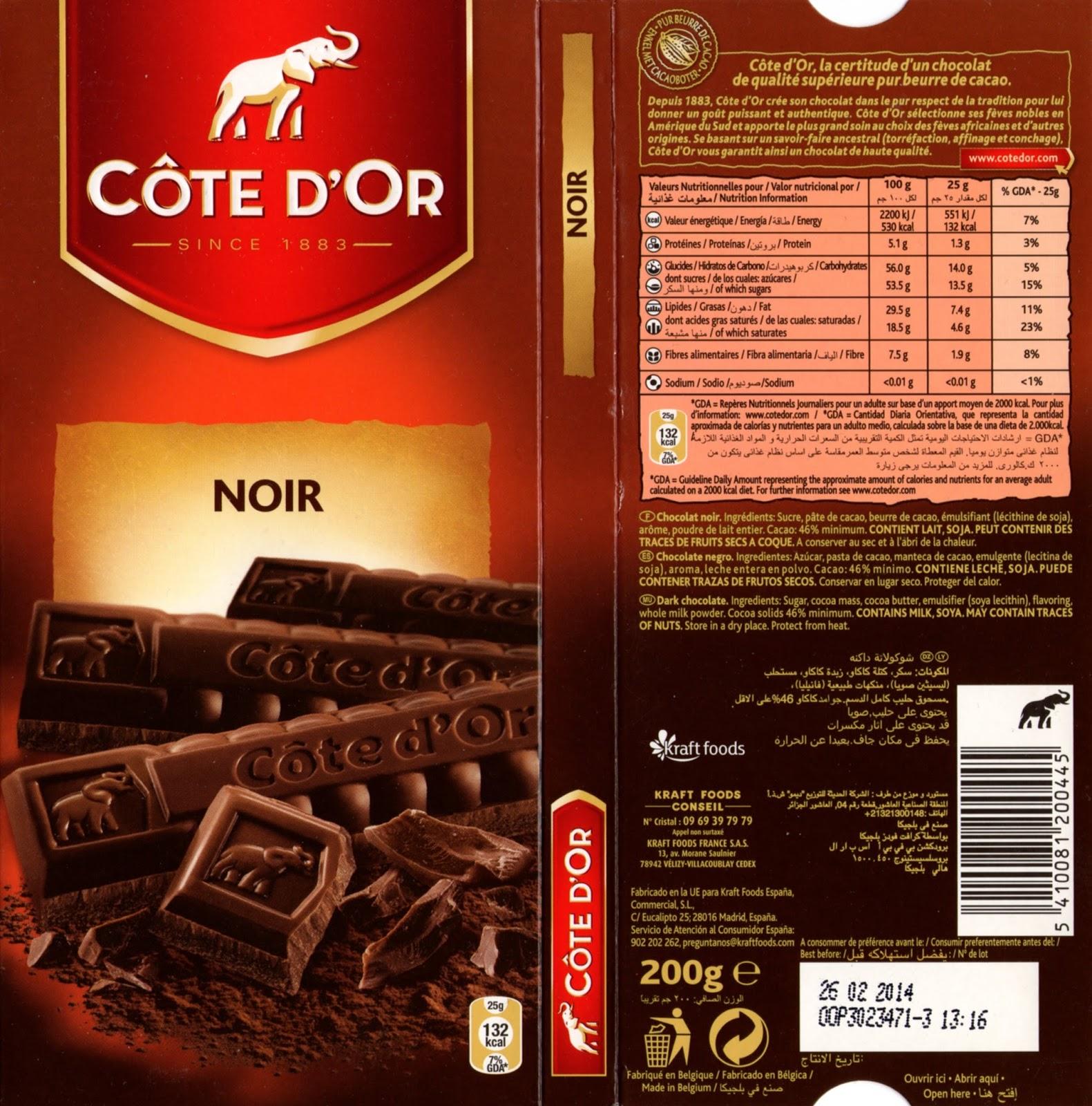 tablette de chocolat noir dégustation côte d'or noir