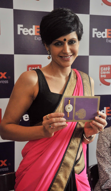 Actress Mandira Bedi Saree Photos at Launch FedEx Rakhi Offer