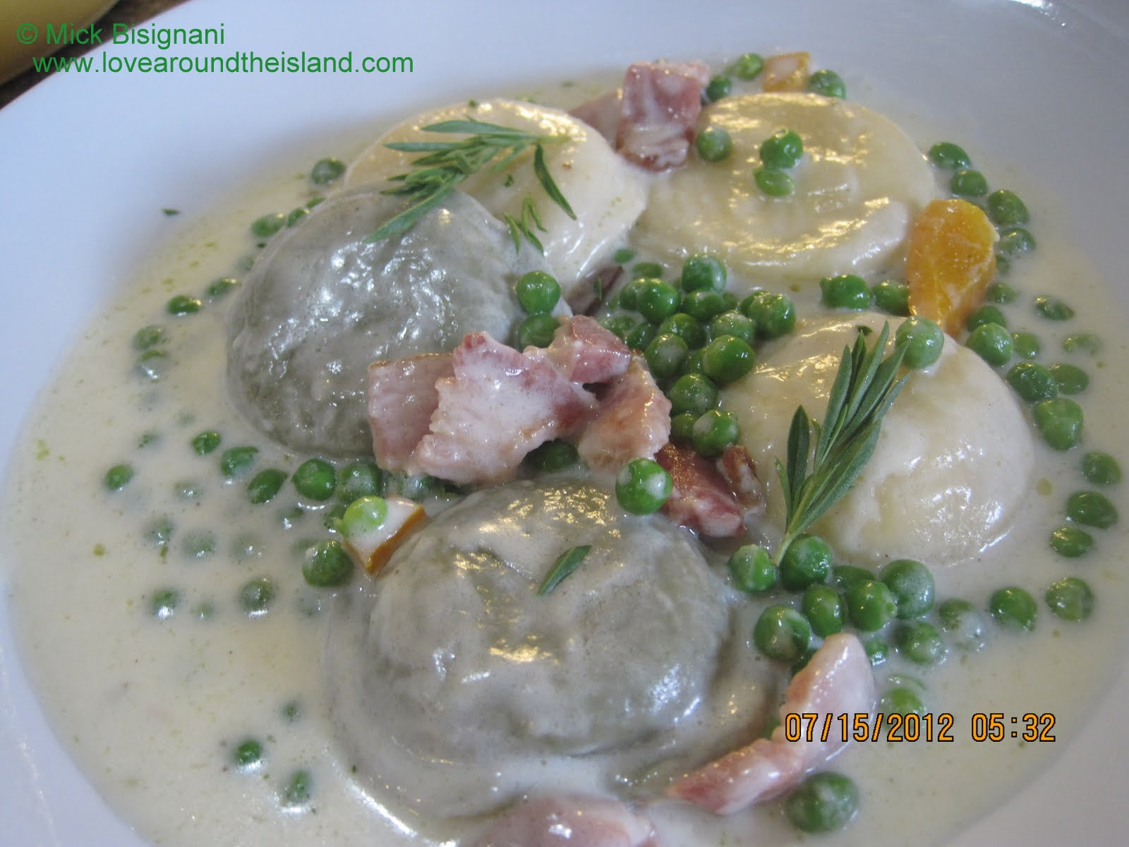 Spinach Ravioli in Cream Pea Sauce