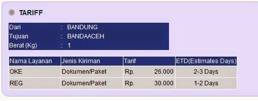 Ongkos Kirim JNE dari Bandung