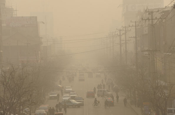 Linfen China  City new picture : Linfen China Smog down a 011