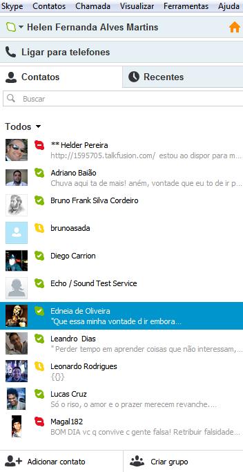 Contatos no Skype